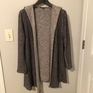 Eileen Fisher cotton/linen long hooded cardigan.